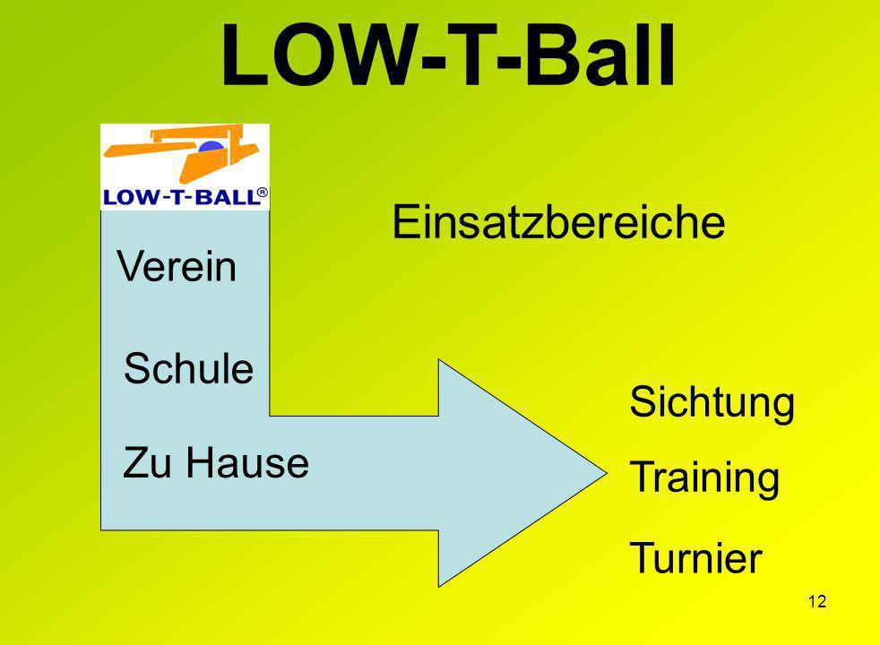 12 Training Turnier Sichtung Zu Hause Verein Schule LOW-T-Ball Einsatzbereiche