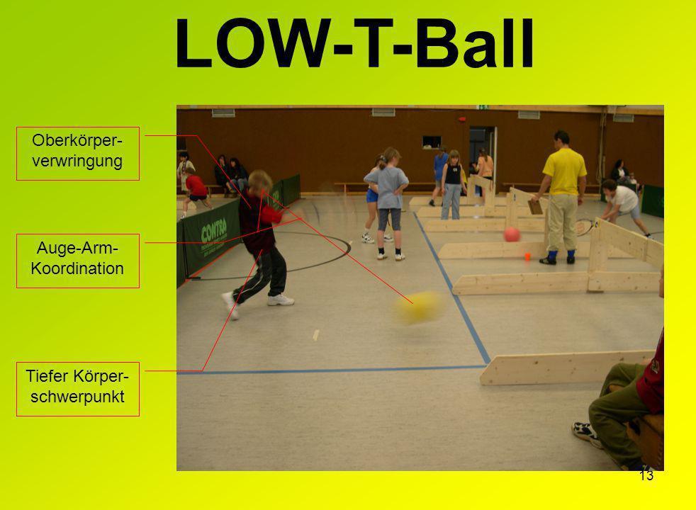 13 LOW-T-Ball Oberkörper- verwringung Tiefer Körper- schwerpunkt Auge-Arm- Koordination