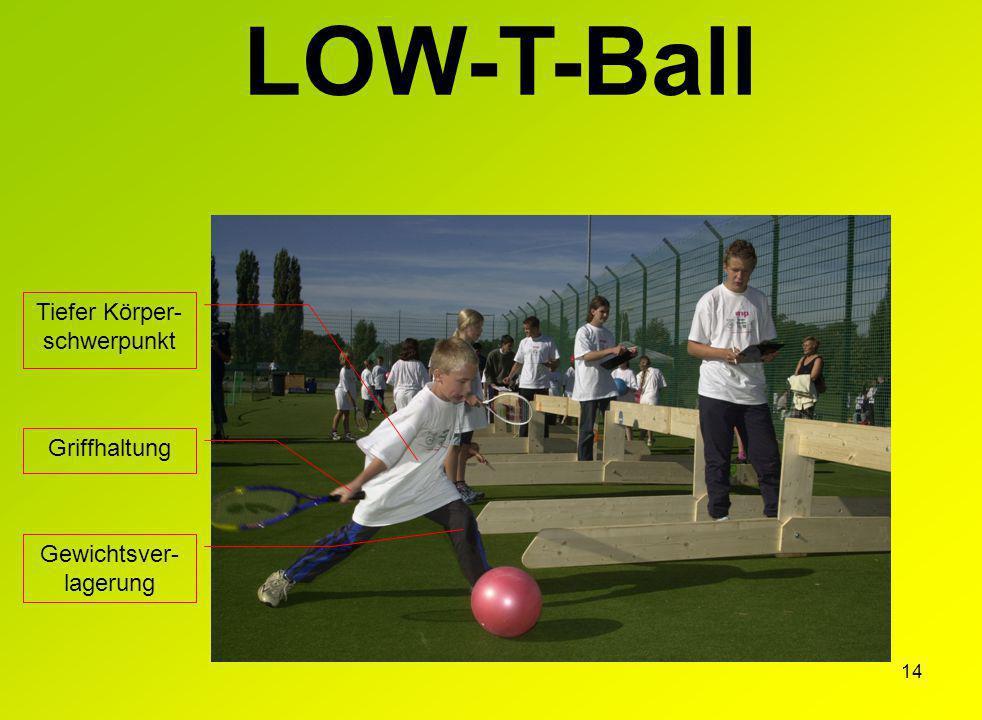 14 LOW-T-Ball Griffhaltung Tiefer Körper- schwerpunkt Gewichtsver- lagerung