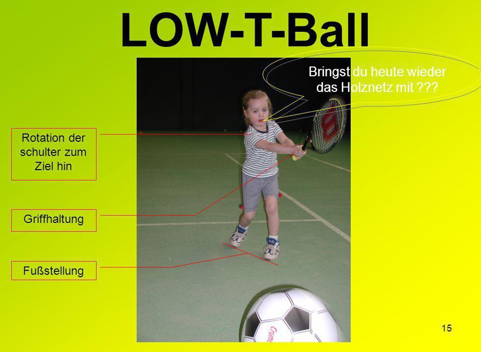 15 LOW-T-Ball Griffhaltung Rotation der schulter zum Ziel hin Fußstellung Bringst du heute wieder das Holznetz mit ???