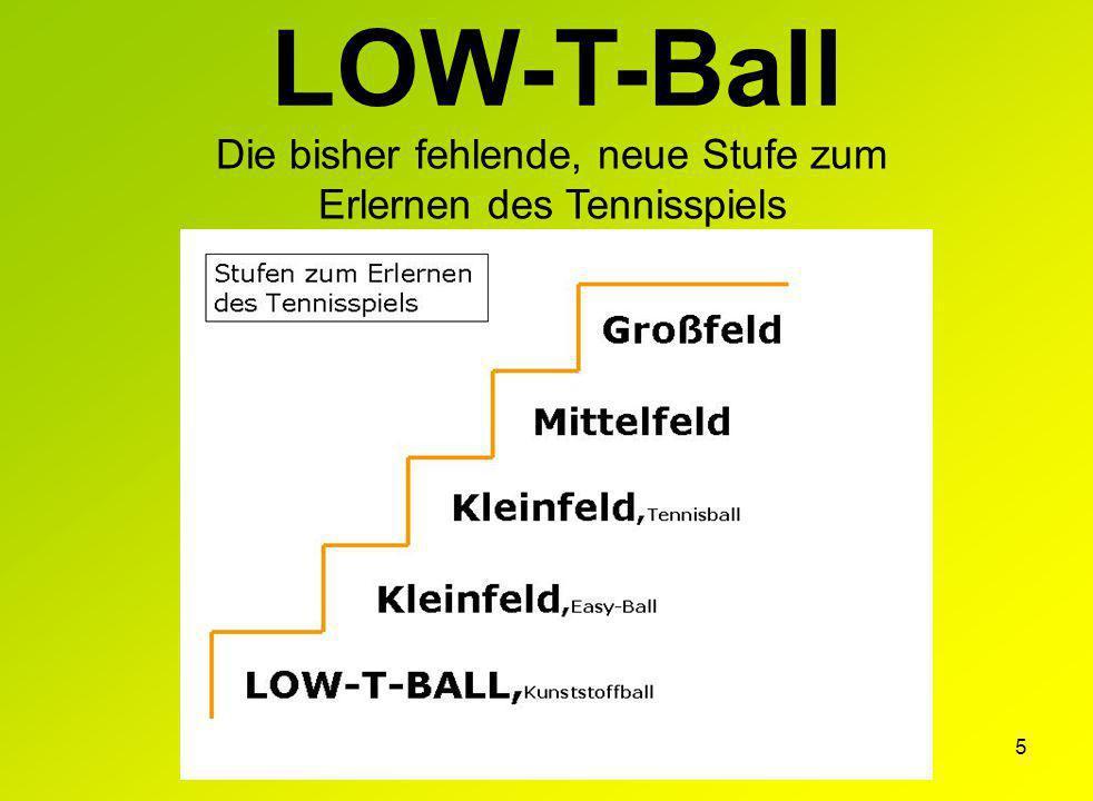 5 Die bisher fehlende, neue Stufe zum Erlernen des Tennisspiels LOW-T-Ball