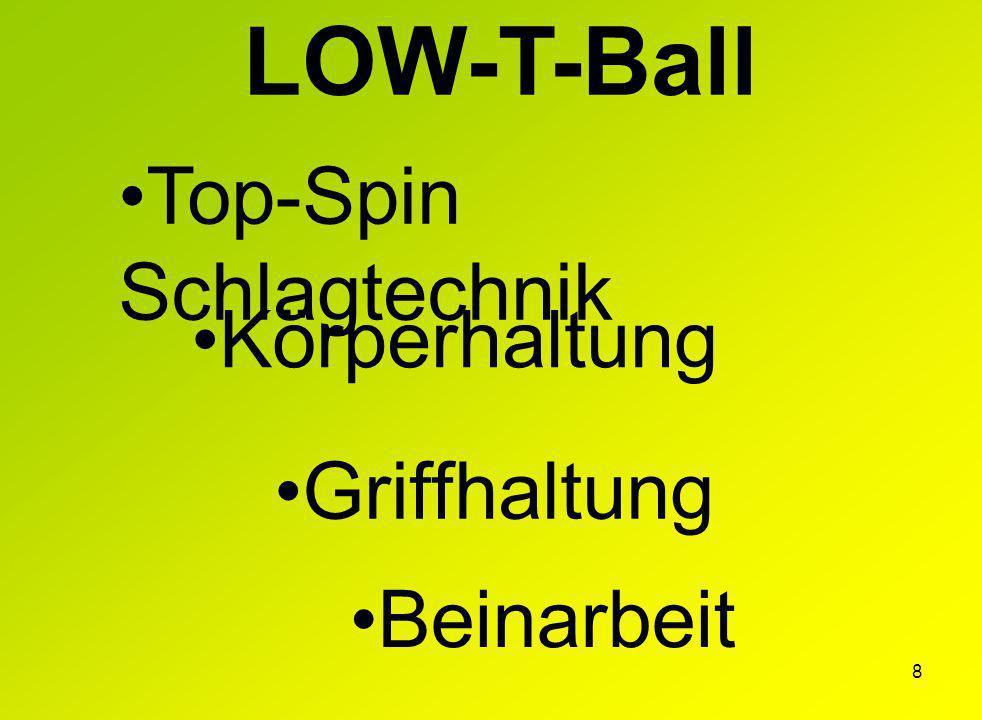 8 LOW-T-Ball Top-Spin Schlagtechnik Körperhaltung Griffhaltung Beinarbeit