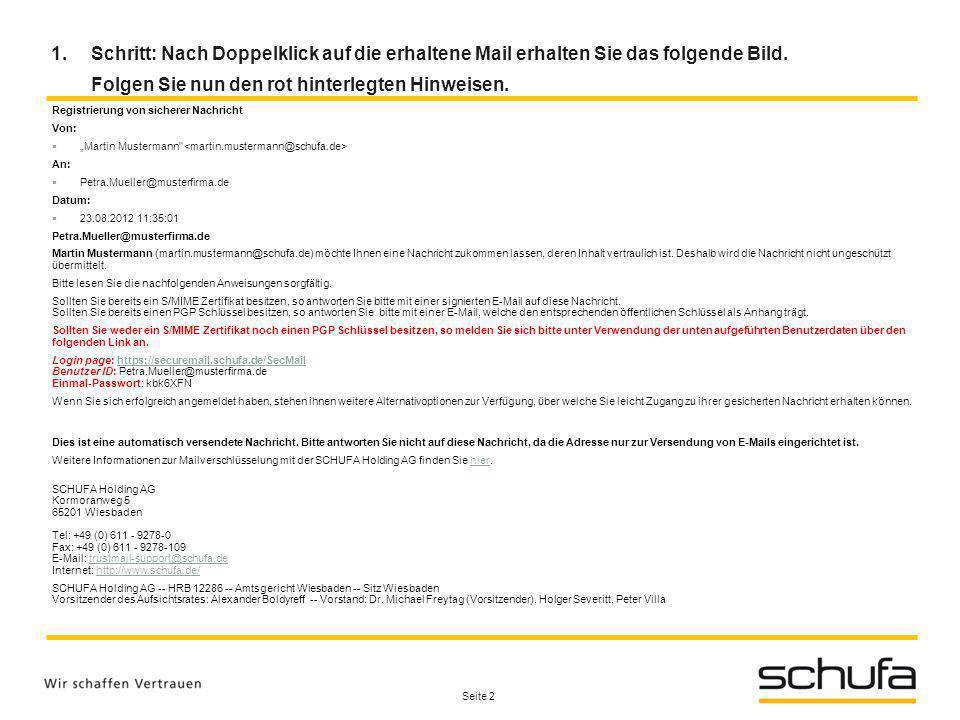 Seite 2 Registrierung von sicherer Nachricht Von: Martin Mustermann