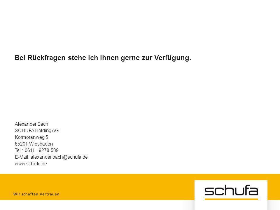 Alexander Bach SCHUFA Holding AG Kormoranweg 5 65201 Wiesbaden Tel.: 0611 - 9278-589 E-Mail: alexander.bach@schufa.de www.schufa.de Bei Rückfragen ste
