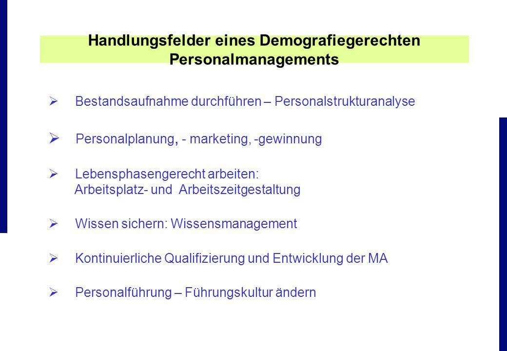 Bestandsaufnahme durchführen – Personalstrukturanalyse Personalplanung, - marketing, -gewinnung Lebensphasengerecht arbeiten: Arbeitsplatz- und Arbeit