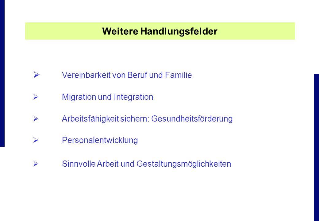 Vereinbarkeit von Beruf und Familie Migration und Integration Arbeitsfähigkeit sichern: Gesundheitsförderung Personalentwicklung Sinnvolle Arbeit und
