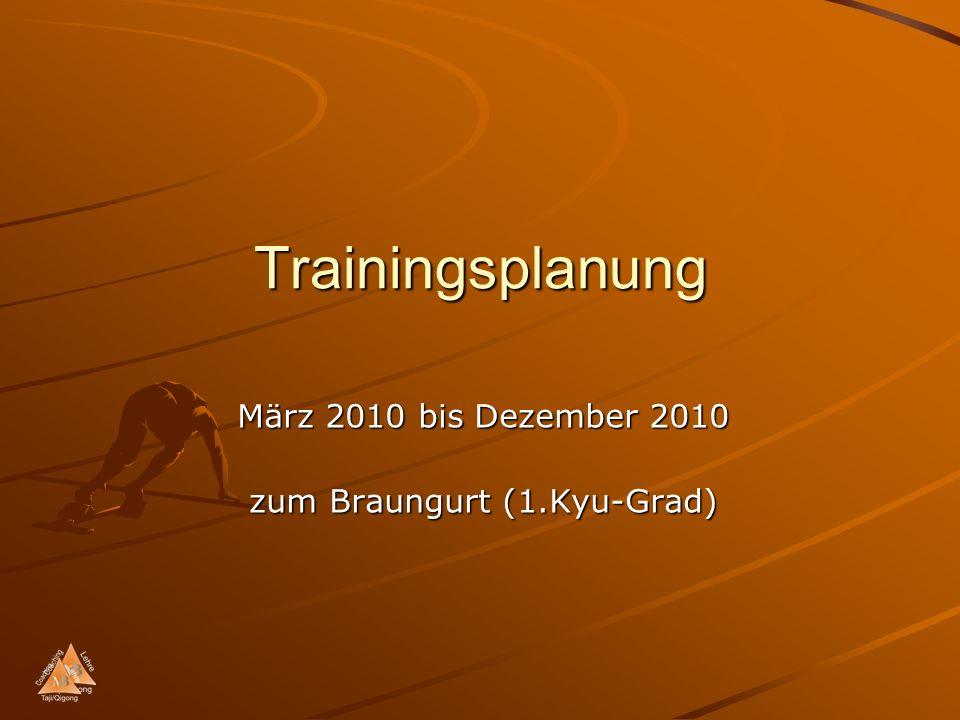 Trainingsplanung März 2010 bis Dezember 2010 zum Braungurt (1.Kyu-Grad)