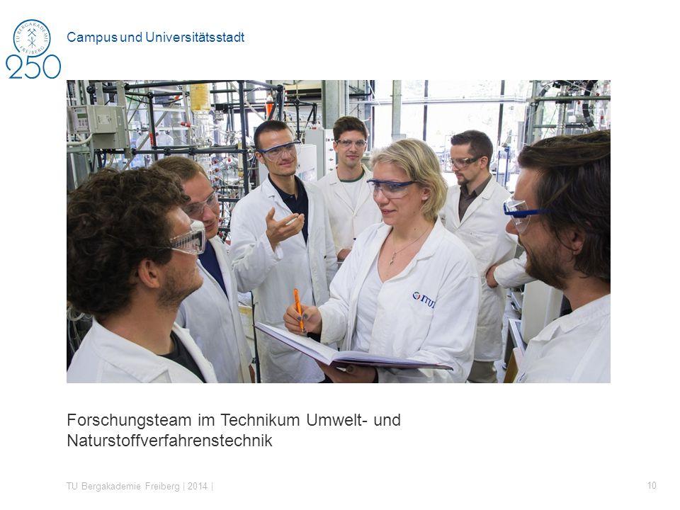 Forschungsteam im Technikum Umwelt- und Naturstoffverfahrenstechnik TU Bergakademie Freiberg | 2014 | 10 Campus und Universitätsstadt