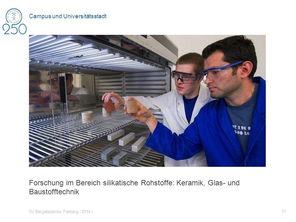 Forschung im Bereich silikatische Rohstoffe: Keramik, Glas- und Baustofftechnik TU Bergakademie Freiberg | 2014 | 11 Campus und Universitätsstadt