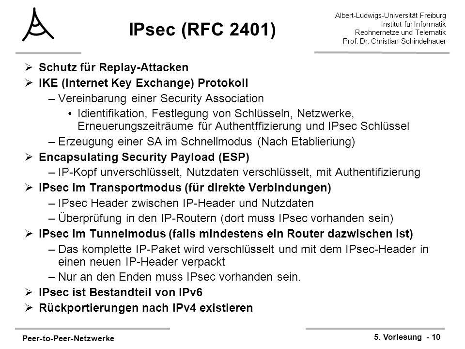 Peer-to-Peer-Netzwerke 5. Vorlesung - 10 Albert-Ludwigs-Universität Freiburg Institut für Informatik Rechnernetze und Telematik Prof. Dr. Christian Sc