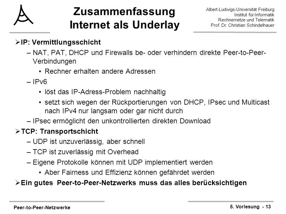 Peer-to-Peer-Netzwerke 5. Vorlesung - 13 Albert-Ludwigs-Universität Freiburg Institut für Informatik Rechnernetze und Telematik Prof. Dr. Christian Sc