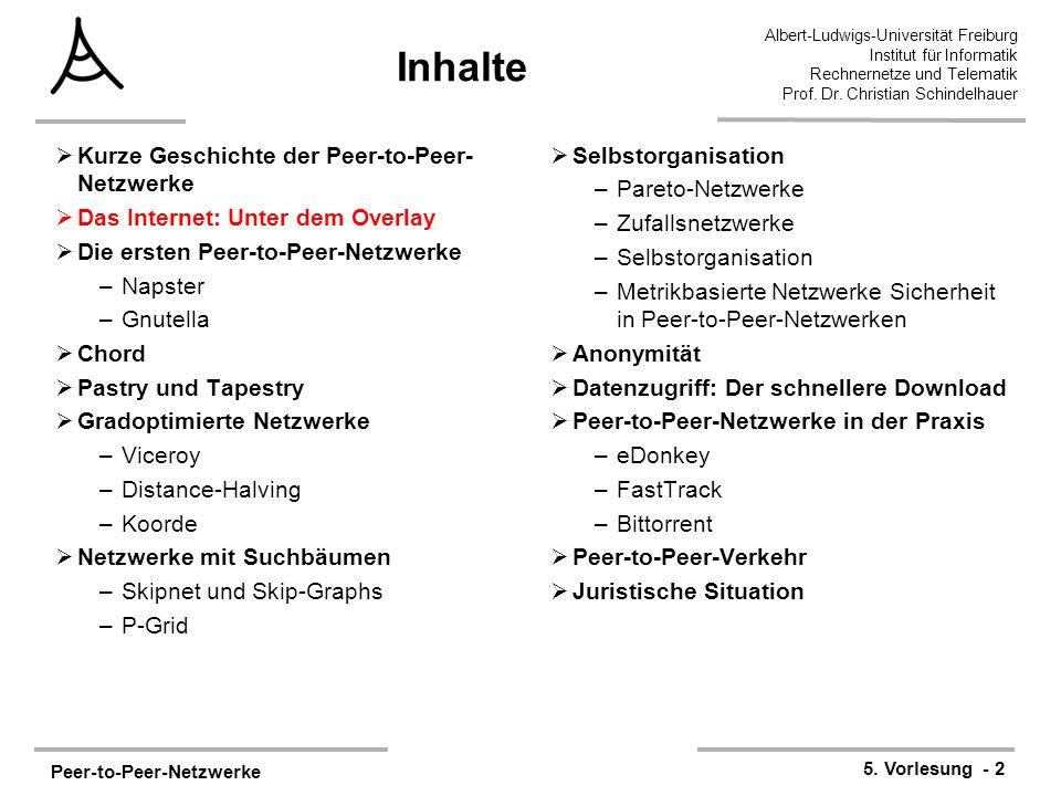 Peer-to-Peer-Netzwerke 5. Vorlesung - 2 Albert-Ludwigs-Universität Freiburg Institut für Informatik Rechnernetze und Telematik Prof. Dr. Christian Sch
