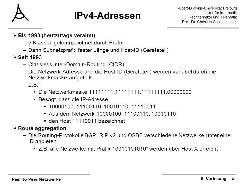 Peer-to-Peer-Netzwerke 5. Vorlesung - 4 Albert-Ludwigs-Universität Freiburg Institut für Informatik Rechnernetze und Telematik Prof. Dr. Christian Sch