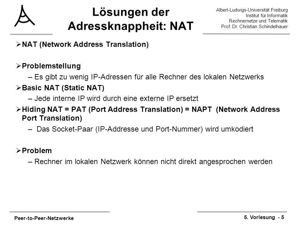 Peer-to-Peer-Netzwerke 5. Vorlesung - 5 Albert-Ludwigs-Universität Freiburg Institut für Informatik Rechnernetze und Telematik Prof. Dr. Christian Sch