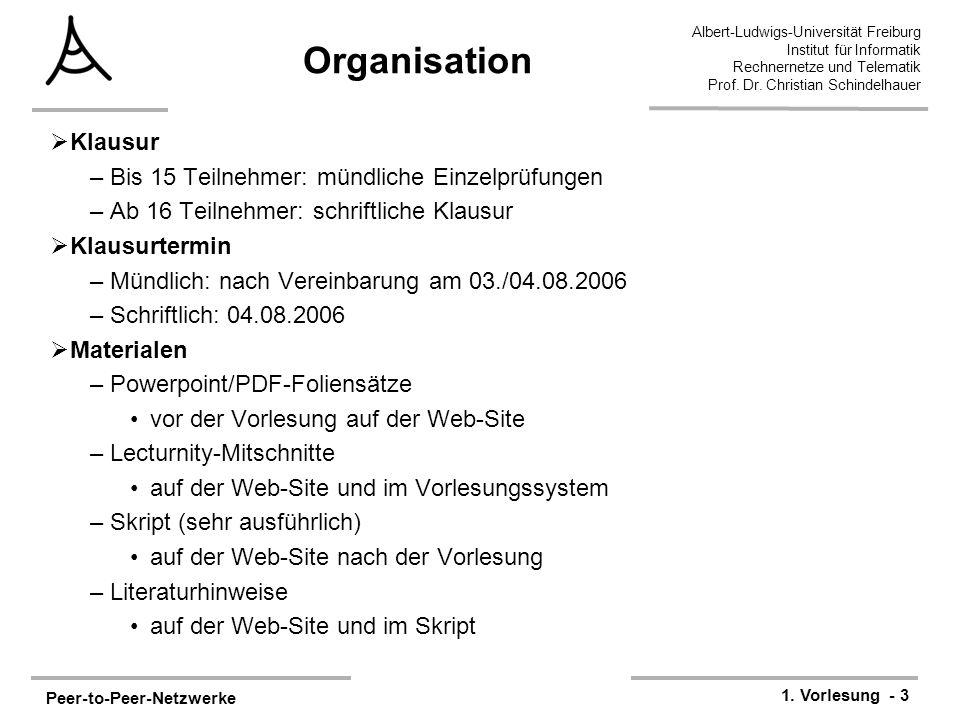 Peer-to-Peer-Netzwerke 1. Vorlesung - 3 Albert-Ludwigs-Universität Freiburg Institut für Informatik Rechnernetze und Telematik Prof. Dr. Christian Sch