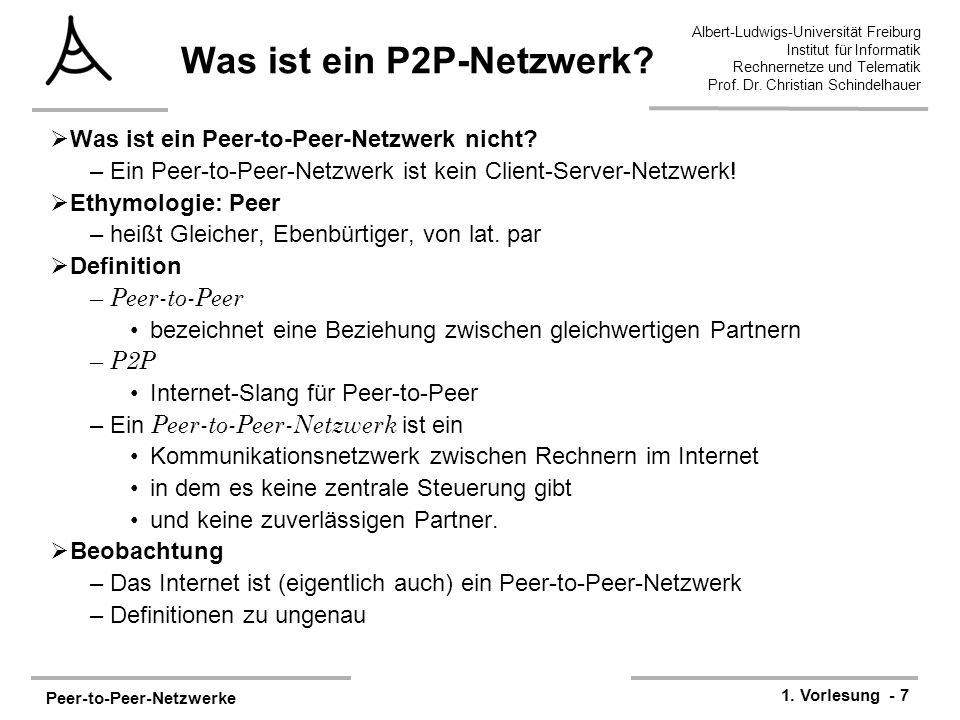 Peer-to-Peer-Netzwerke 1. Vorlesung - 7 Albert-Ludwigs-Universität Freiburg Institut für Informatik Rechnernetze und Telematik Prof. Dr. Christian Sch