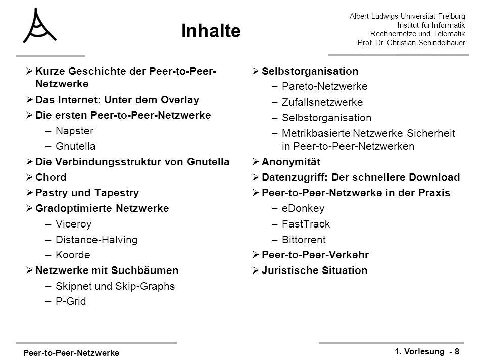 Peer-to-Peer-Netzwerke 1. Vorlesung - 8 Albert-Ludwigs-Universität Freiburg Institut für Informatik Rechnernetze und Telematik Prof. Dr. Christian Sch