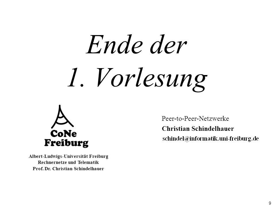 9 Albert-Ludwigs-Universität Freiburg Rechnernetze und Telematik Prof. Dr. Christian Schindelhauer Ende der 1. Vorlesung Peer-to-Peer-Netzwerke Christ