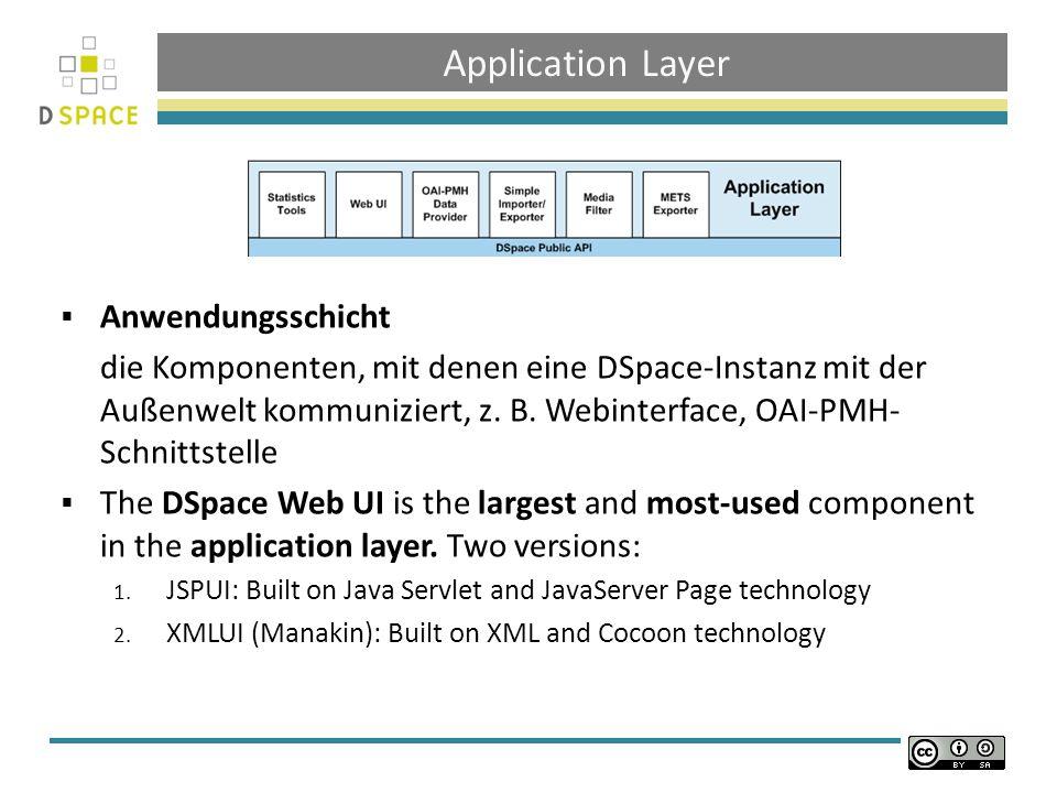 Application Layer Anwendungsschicht die Komponenten, mit denen eine DSpace-Instanz mit der Außenwelt kommuniziert, z.