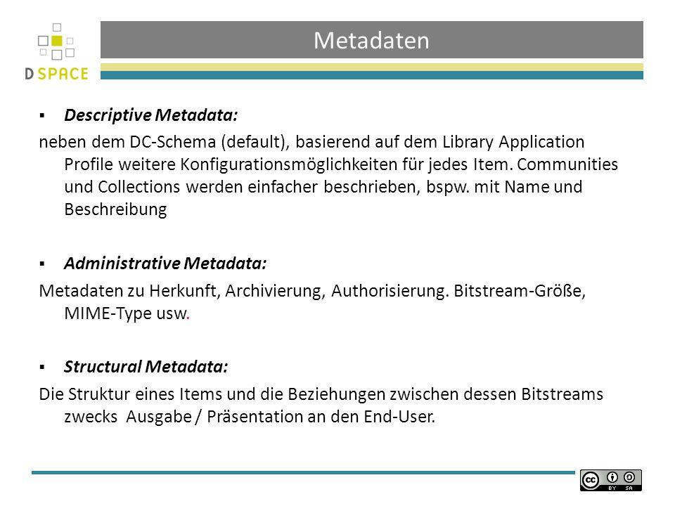 Metadaten Descriptive Metadata: neben dem DC-Schema (default), basierend auf dem Library Application Profile weitere Konfigurationsmöglichkeiten für jedes Item.