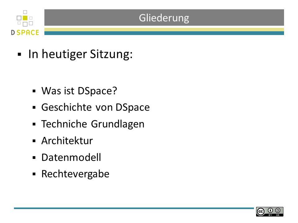 Gliederung In heutiger Sitzung: Was ist DSpace.