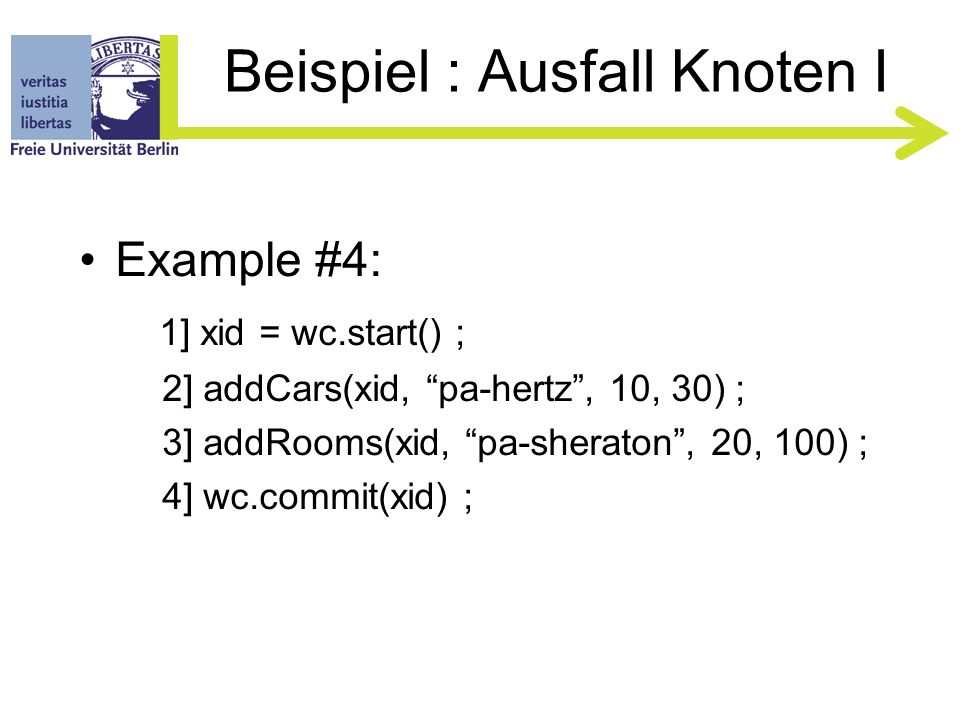 Beispiel : Verteilte TA V Client 1 Flights Hotels Cars Customers RM Workflow Controller Transaction Manager commit() prepare() commit()