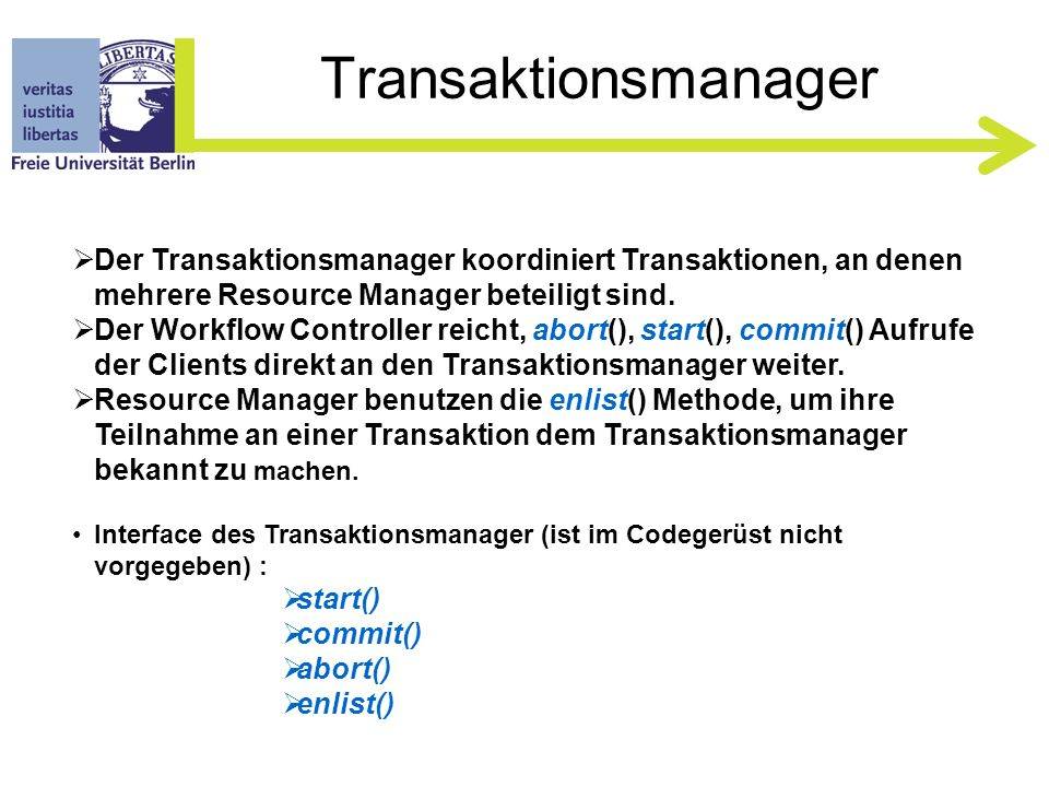 Workflow Controller Gleiches Interface wie ResourceManager zuzüglich: boolean reserveItinerary( int xid, String custName, List flightNumList, String location, boolean needCar, boolean needRoom ) Weitere Methoden zum Testen z.B.