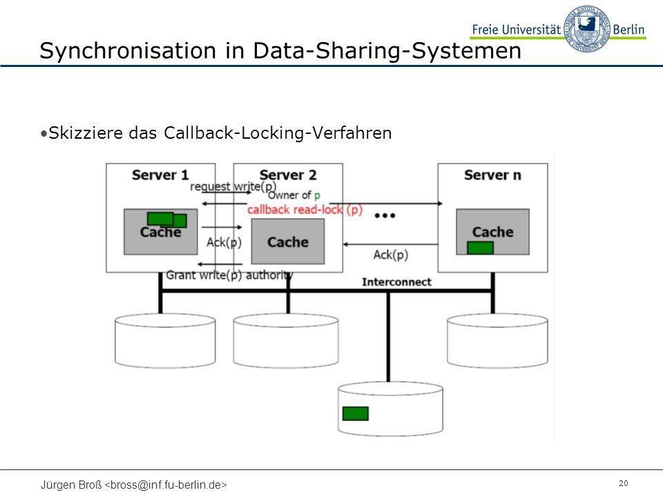 20 Jürgen Broß Synchronisation in Data-Sharing-Systemen Skizziere das Callback-Locking-Verfahren