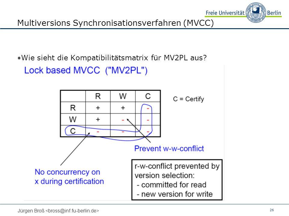 26 Jürgen Broß Multiversions Synchronisationsverfahren (MVCC) Wie sieht die Kompatibilitätsmatrix für MV2PL aus?