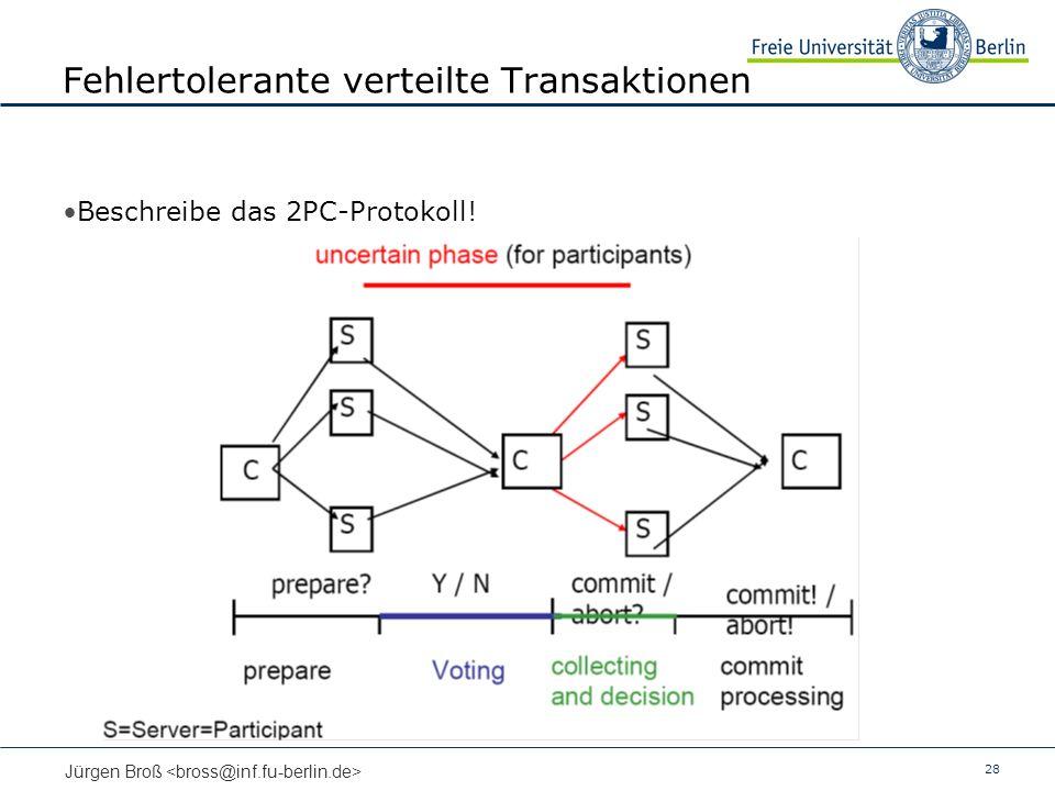 28 Jürgen Broß Fehlertolerante verteilte Transaktionen Beschreibe das 2PC-Protokoll!