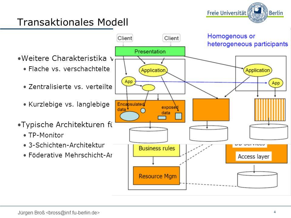 4 Jürgen Broß Transaktionales Modell Weitere Charakteristika von Transaktionen Flache vs. verschachtelte (nested) Transaktionen (Transaktionsbaum) Zen