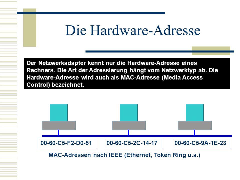Aufbau der MAC-Adresse 00:60:C5:F2:D0:51 Laufende NummerHerstellerkennung Besonderheiten: Das erste Bit zeigt an, ob an einen einzelnen Rechner (0) oder mehrere Rechner (1) gesendet werden soll.