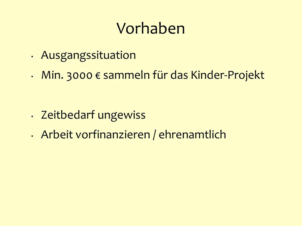 Vorhaben Ausgangssituation Min. 3000 sammeln für das Kinder-Projekt Zeitbedarf ungewiss Arbeit vorfinanzieren / ehrenamtlich