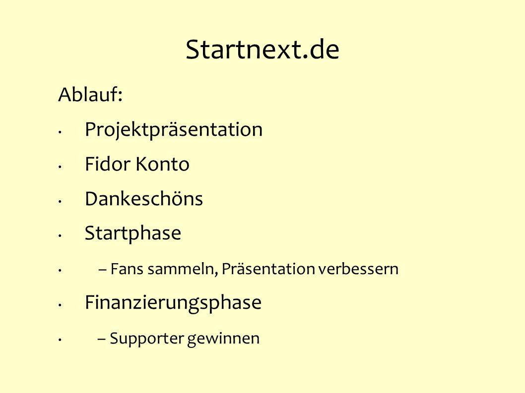Startnext.de Ablauf: Projektpräsentation Fidor Konto Dankeschöns Startphase – Fans sammeln, Präsentation verbessern Finanzierungsphase – Supporter gew