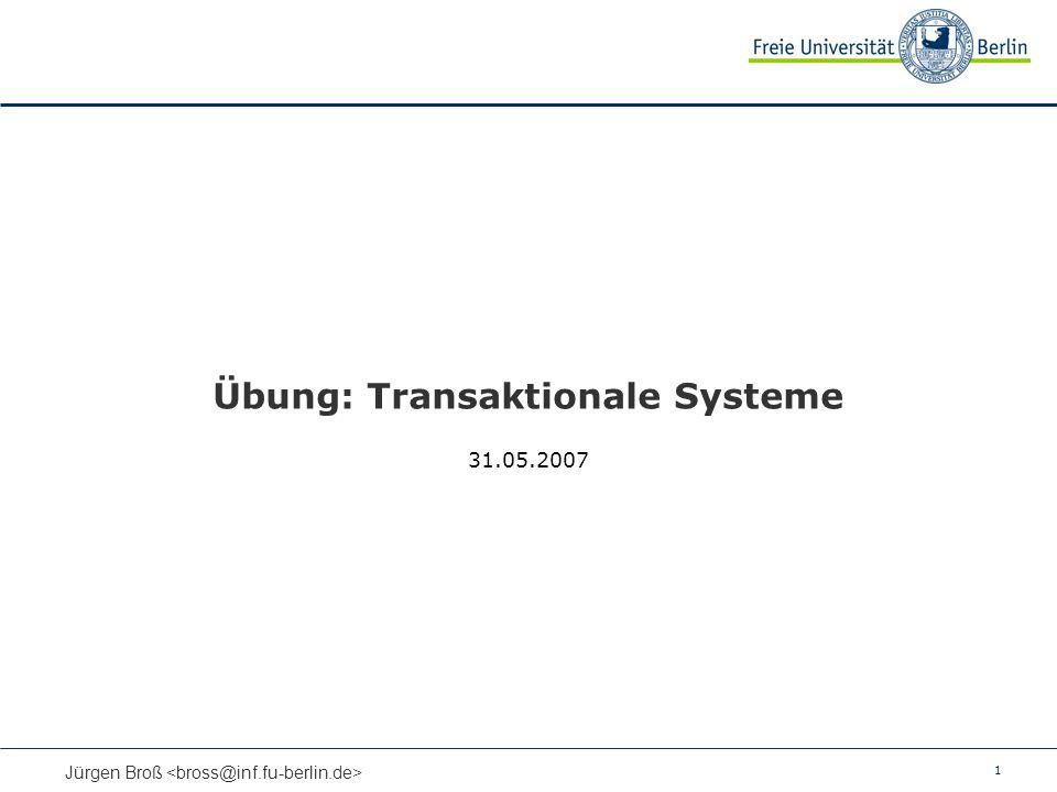 1 Jürgen Broß Übung: Transaktionale Systeme 31.05.2007
