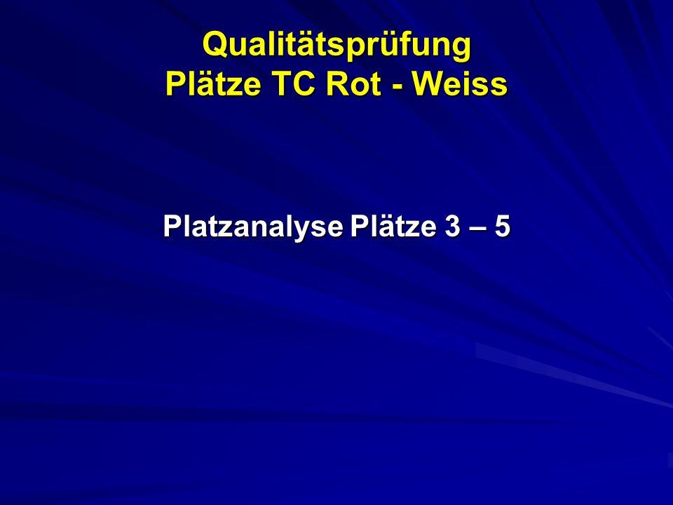 Qualitätsprüfung Plätze TC Rot - Weiss Platzanalyse Plätze 3 – 5