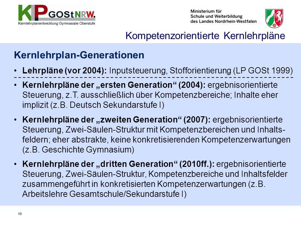 10 Kernlehrplan-Generationen Lehrpläne (vor 2004): Inputsteuerung, Stofforientierung (LP GOSt 1999) Kernlehrpläne der ersten Generation (2004): ergebnisorientierte Steuerung, z.T.