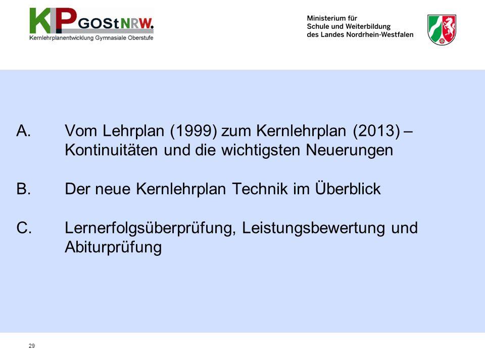 A.Vom Lehrplan (1999) zum Kernlehrplan (2013) – Kontinuitäten und die wichtigsten Neuerungen B.