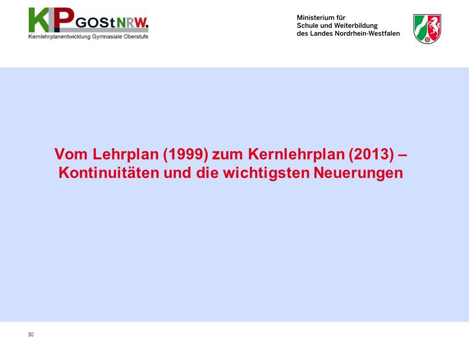 Vom Lehrplan (1999) zum Kernlehrplan (2013) – Kontinuitäten und die wichtigsten Neuerungen 30
