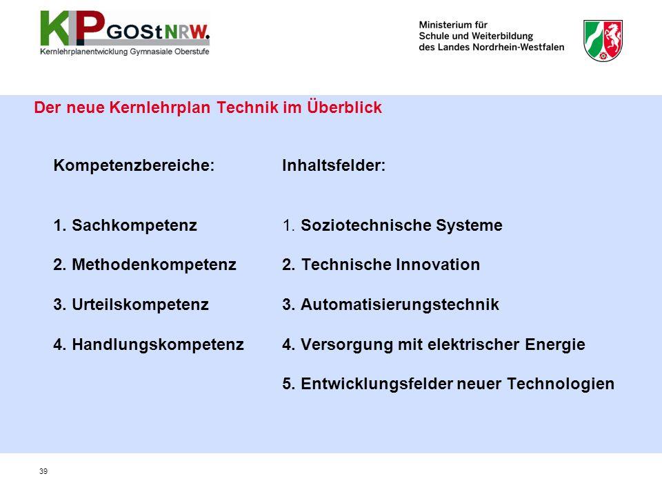 Der neue Kernlehrplan Technik im Überblick 39 Kompetenzbereiche: 1.