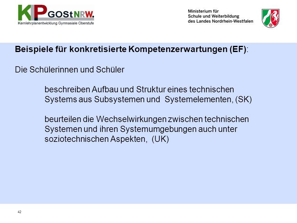 Beispiele für konkretisierte Kompetenzerwartungen (EF): Die Schülerinnen und Schüler beschreiben Aufbau und Struktur eines technischen Systems aus Subsystemen und Systemelementen, (SK) beurteilen die Wechselwirkungen zwischen technischen Systemen und ihren Systemumgebungen auch unter soziotechnischen Aspekten, (UK) 42