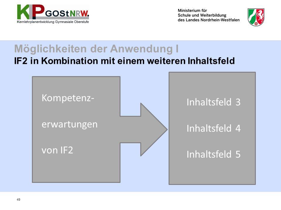 Möglichkeiten der Anwendung I IF2 in Kombination mit einem weiteren Inhaltsfeld Kompetenz- erwartungen von IF2 Inhaltsfeld 3 Inhaltsfeld 4 Inhaltsfeld 5 49