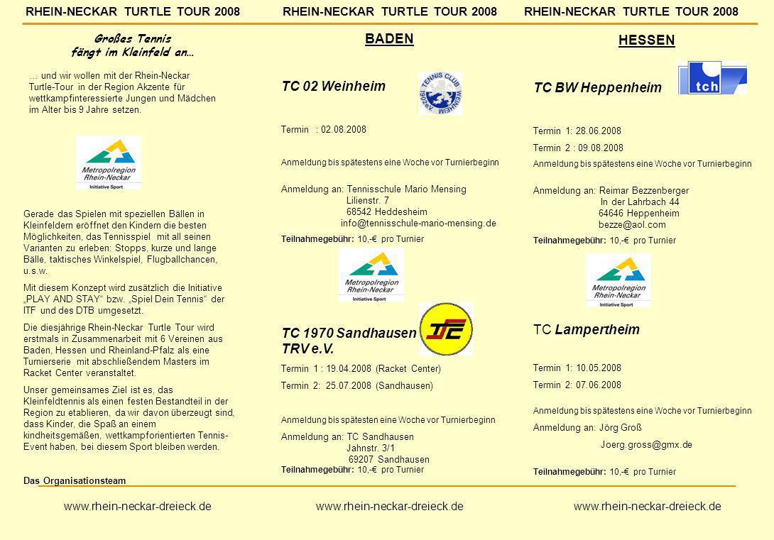 BADEN TC 02 Weinheim Termin : 02.08.2008 Anmeldung bis spätestens eine Woche vor Turnierbeginn Anmeldung an: Tennisschule Mario Mensing Lilienstr. 7 6