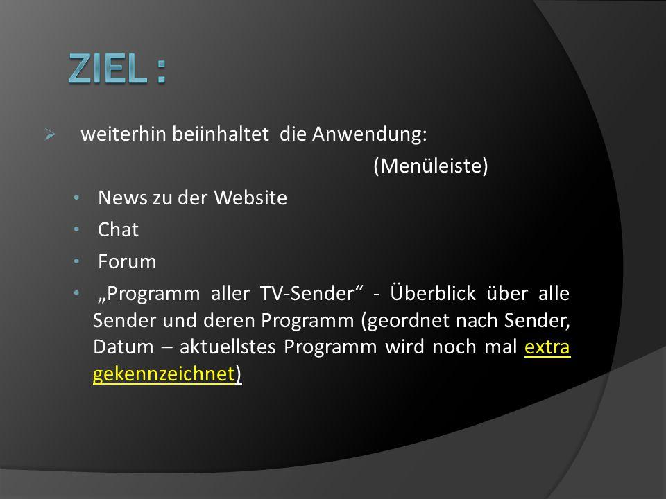 weiterhin beiinhaltet die Anwendung: (Menüleiste) News zu der Website Chat Forum Programm aller TV-Sender - Überblick über alle Sender und deren Programm (geordnet nach Sender, Datum – aktuellstes Programm wird noch mal extra gekennzeichnet)