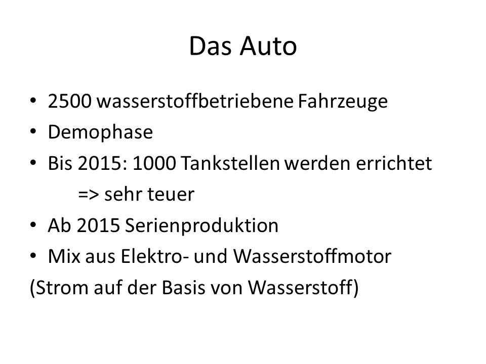 Das Auto 2500 wasserstoffbetriebene Fahrzeuge Demophase Bis 2015: 1000 Tankstellen werden errichtet => sehr teuer Ab 2015 Serienproduktion Mix aus Ele