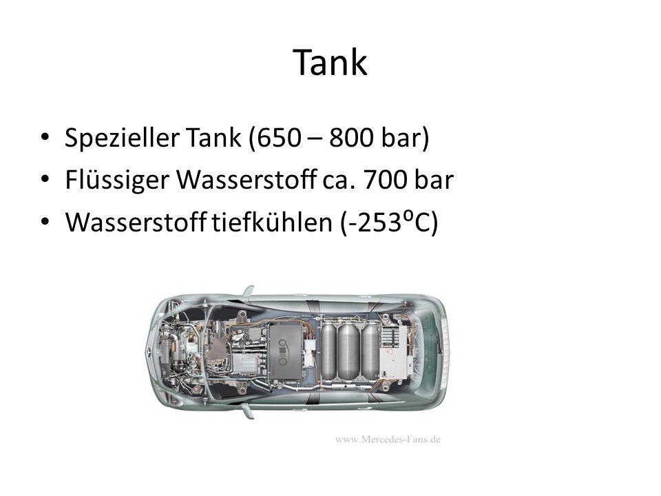 Tank Spezieller Tank (650 – 800 bar) Flüssiger Wasserstoff ca. 700 bar Wasserstoff tiefkühlen (-253C)