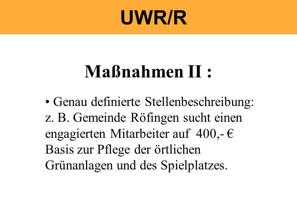Maßnahmen II : Genau definierte Stellenbeschreibung: z. B. Gemeinde Röfingen sucht einen engagierten Mitarbeiter auf 400,- Basis zur Pflege der örtlic