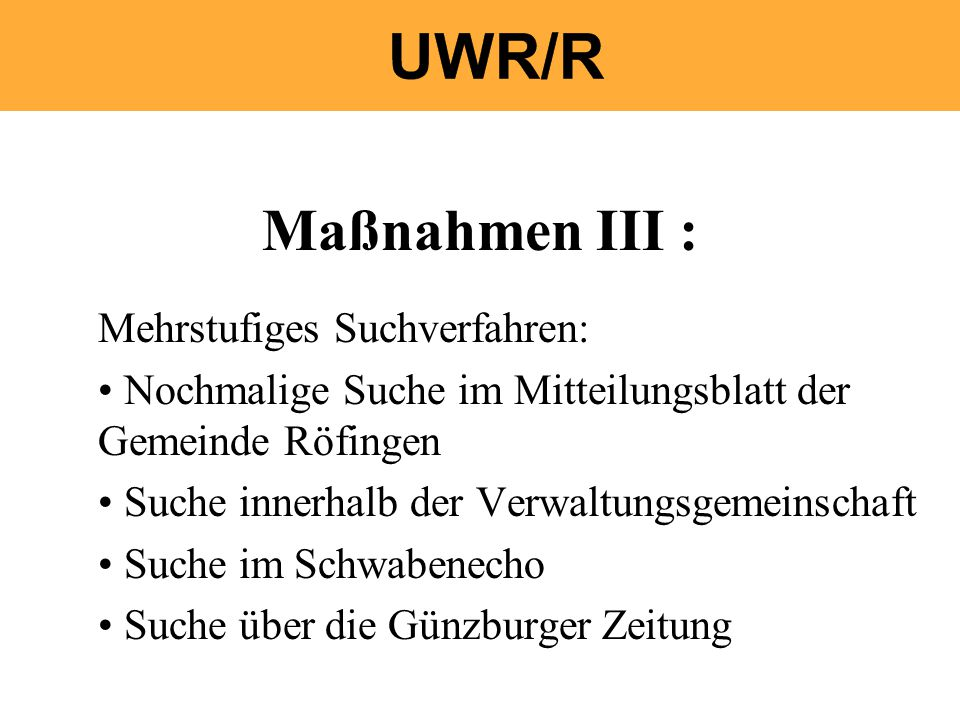 Maßnahmen III : Mehrstufiges Suchverfahren: Nochmalige Suche im Mitteilungsblatt der Gemeinde Röfingen Suche innerhalb der Verwaltungsgemeinschaft Suche im Schwabenecho Suche über die Günzburger Zeitung