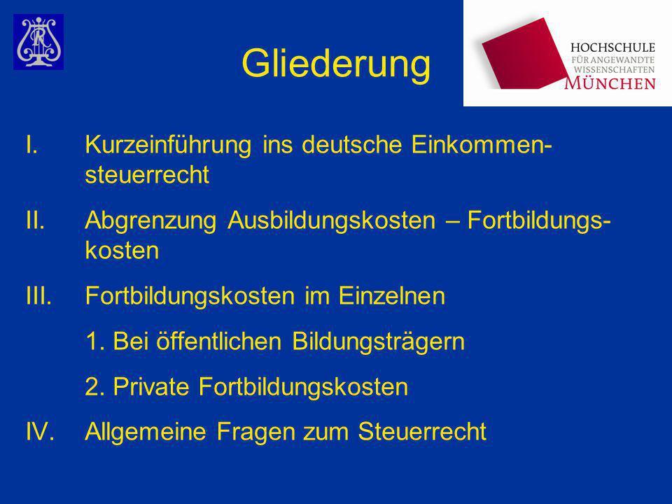 I.Kurzeinführung ins deutsche Einkommen- steuerrecht Ermittlung des zu versteuernden Einkommens: Einkünfte aus Land- und Forstwirtschaft (§§ 13 ff EStG) +Einkünfte aus Gewerbebetrieb (§§ 15 ff EStG) +Einkünfte aus selbständiger Tätigkeit (§ 18 EStG) +Einkünfte aus nichtselbständiger Tätigkeit (§ 19 EStG) +Einkünfte aus Kapitalvermögen (§ 20 EStG) +Einkünfte aus Vermietung und Verpachtung (§ 21 EStG) +Sonstige Einkünfte (§ 22 EStG) =Gesamtbetrag der Einkünfte -Sonderausgaben (§§ 10, 10b, 10c, § 10e EStG) -Außergewöhnliche Belastungen (§§ 33 - 33c EStG) -Verlustabzug (§ 10d EStG) -Kindervergünstigungen (§ 32 EStG) =zu versteuerndes Einkommen