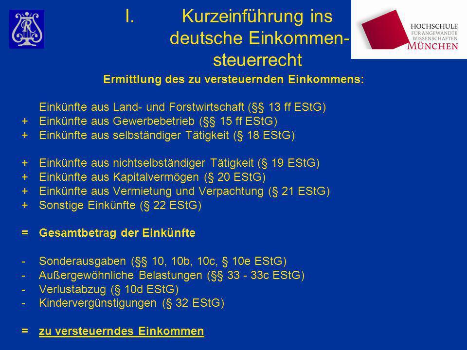 I.Kurzeinführung ins deutsche Einkommen- steuerrecht Ermittlung des zu versteuernden Einkommens: Einkünfte aus Land- und Forstwirtschaft (§§ 13 ff ESt